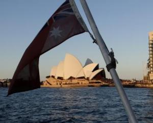 The Sydney Opera House as we ferry around the harbour