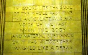 Words inscribed on the wall at the library